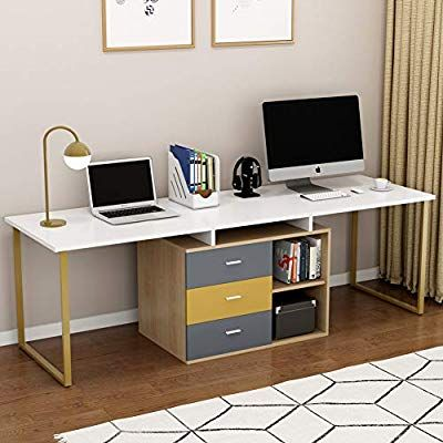 Tribesigns 87 Inches Extra Long Computer Desk For Two Person Adjustable Double Workstation Office Desk With Fil Desk For Two Home Office Design Credenza Desks