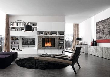"""Media Unit 002890, by usona. Media unit with white mat lacquer structure and bio alcohol burning fireplace in Silver Shine Stone. Sliding doors in white under painted glass."""