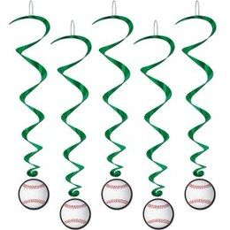 Hangdecoratie Whirls Honkbal -  Vijf hangdecoraties met een honkbal. Lengte: 100cm. Leuk voor een sport evenement of gewoon als decoratie in een kinder of tiener slaapkamer. | www.feestartikelen.nl