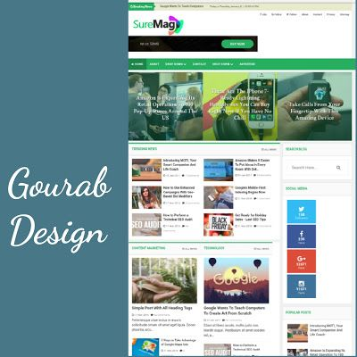 Sure Mag Is Another Magazine Blogger Template By Gourab Design