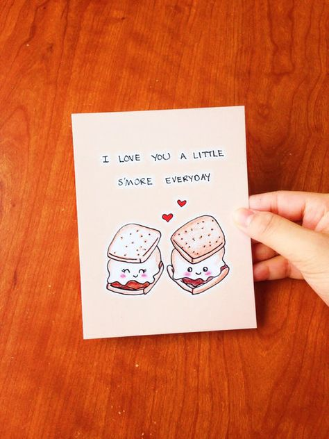 I love you a little smore everyday. ♥ Design is hand drawn by yours truly using good ol pencil crayons, then scanned and printed on high quality cardstock (chlorine and acid free). ♥ Card is blank inside for your own sentiments ♥ 4.1 (10.5 cm) x 5.8 (14.8 cm) in size (A6) ♥ Comes with