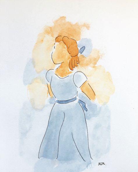 No te pierdas este artículo de mi tienda de #etsy: Dibujo Disney Wendy de Peter Pan  hecho con lapiz y acuarelas. Cuadro habitación niños, bebes