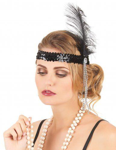20er Pailletten Haarband Mit Feder Schwarz Stirnband Haar Band