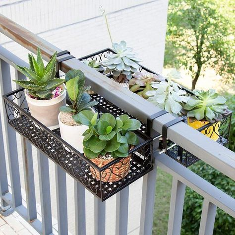 Home Interior Company Poppa - Balcony Railing Hanging Planter Warmly.Home Interior Company Poppa - Balcony Railing Hanging Planter Warmly Small Balcony Design, Small Balcony Garden, Small Balcony Decor, Balcony Plants, Balcony Flowers, Balcony Railing Planters, Balcony Gardening, Small Balcony Furniture, Balcony Grill Design