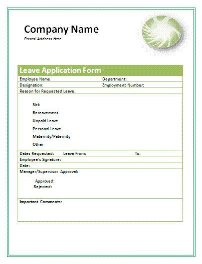 Leave application form for company leaves application form pinterest altavistaventures Choice Image