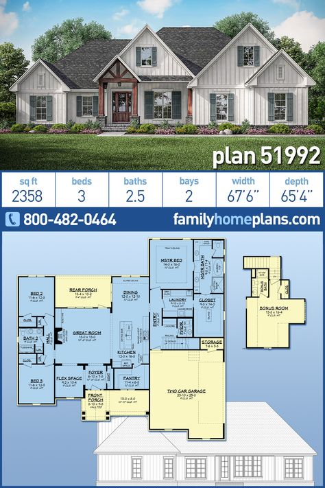 NEW Modern Farmhouse House Plan 51992 at Family Home Plans - Architectural Design Country