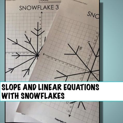 Great Project To Play With Slope And Linear Equations This Winter Students Analyze Slopes Of Snowflakes And Deve School Algebra Math Lessons Teaching Algebra
