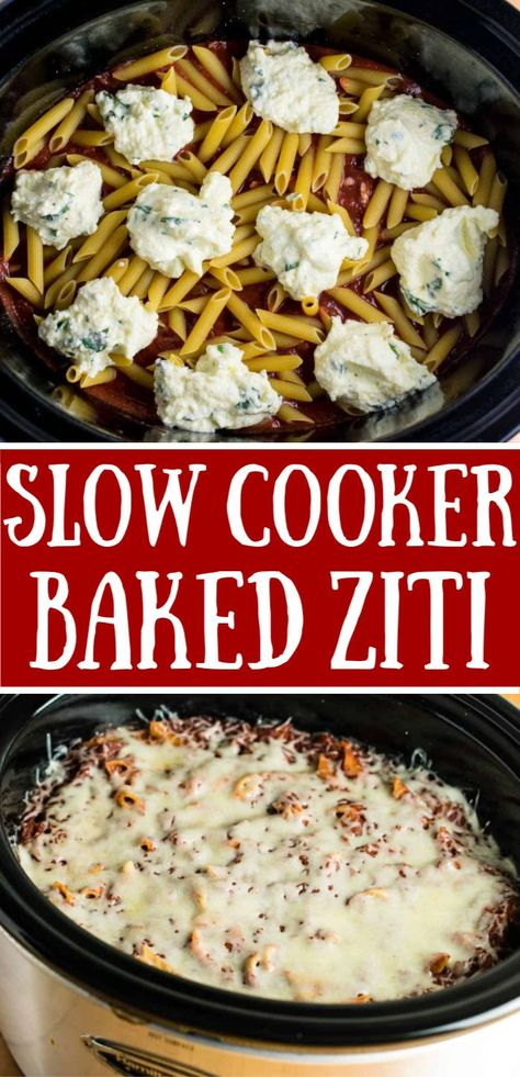 The easiest baked ziti recipe - no wonder it's a crazy popular pinterest recipe!! All made in the crockpot and you don't even cook the noodles first! Just layer sauce, ricotta mixture, cheese, noodles, and cook til the noodles are done!! #crockpot #slowcooker #bakedziti #easydinner #pastarecipes