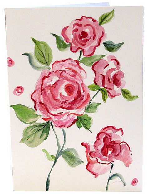Hand Painted Rose Watercolor Greeting Cards Pink Roses Notecards