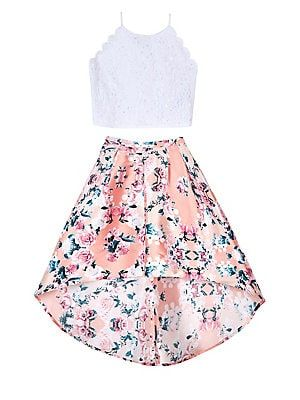 Ally B Girl S 2 Piece Lace Top Floral Skirt Set With Images