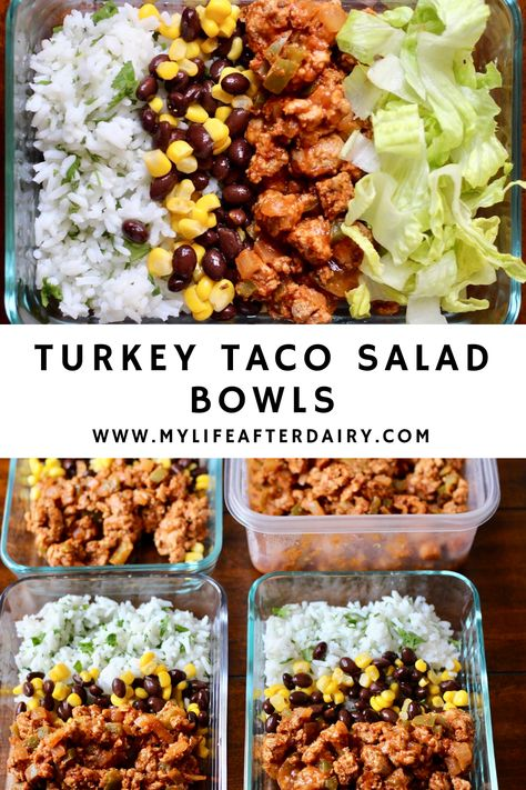 Make your own chipotle style taco bowls at home with these healthy low carb turkey taco meat burrito bowls! With flavorful taco meat, fresh veggies, and a mix of corn and beans this quick and easy meal prep recipe can get your lunches made for the week! Easy Healthy Meal Prep, Easy Healthy Recipes, Meal Prep Cheap, Healthy Lunch Ideas, Cheap Easy Healthy Meals, Easy Low Carb Lunches, Easy Meal Prep Lunches, Healty Meals, Healthy Meals For One