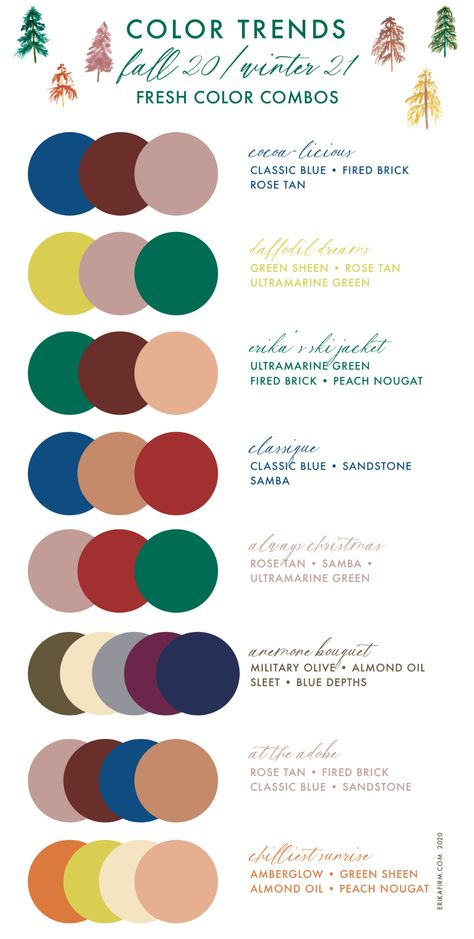 Pantone Fall 2020 Winter 2021 Color Combinations by Erika Firm