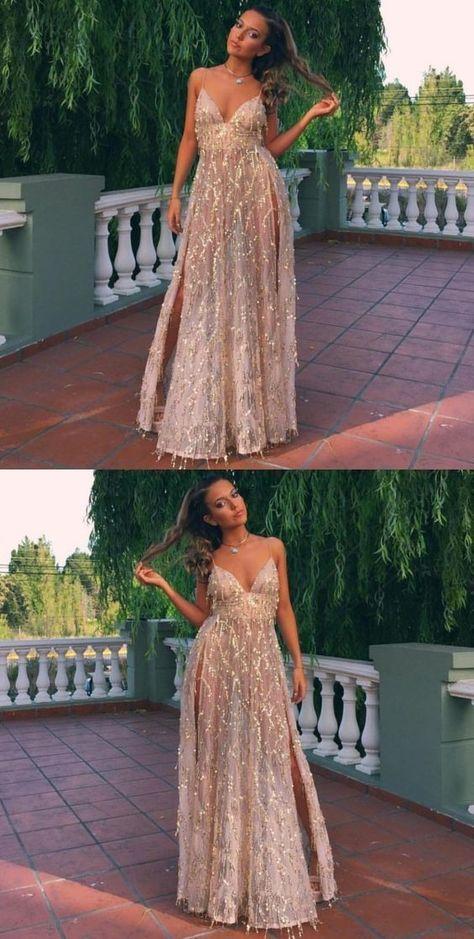 f564b6013c72 Sexy V-Neck Backless Slit A-Line Sparkle Spaghetti Straps Prom Dresses by  Hiprom, $180.56 USD