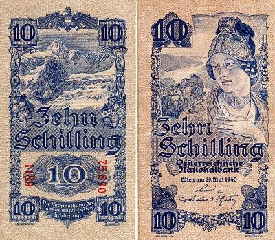 Scwpm P114a Tbb B218scwpm P114a Tbb B218 10 Schilling Austrian Banknote Very Fine Vf 29 05 1945 Currency Design Bank Notes Paper Money