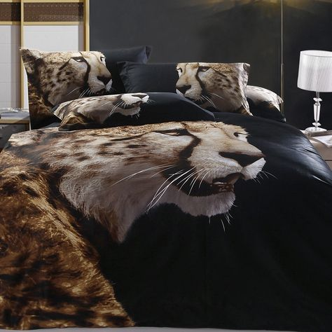 Brown and Black Snow Leopard Print Animal Jungle Safari Themed 100% Cotton 3D Bedding Sets for Kids and Teen Boys