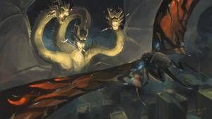 King Ghidorah 2019 Vs Mothra 2019 By Misssaber444 Godzilla All