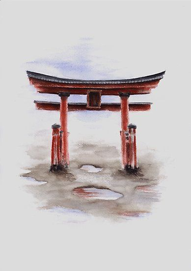 Torii Gate Watercolor Art Print Painting Japanese Symbol For Sale