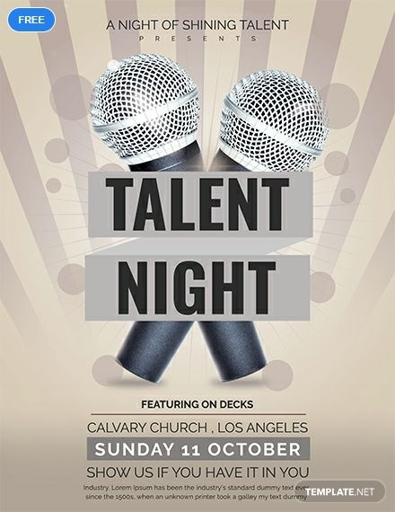 Psd Word Eps Vector Free Premium Templates Talent Show Flyer Template Flyer