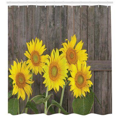 Jawo Sunflower Shower Curtain Autumal Wild Flower Half Zoom Up