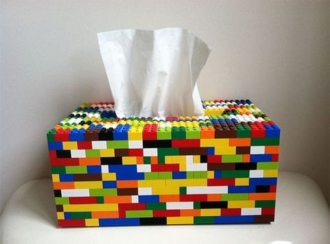 LEGO is for everyone. Whether you're or every time you see LEGO, your imagination will run wild. People love LEGO and they will never run out of ways to do inspirational and Tissue Box Covers, Tissue Boxes, Lego Duplo, Deco Lego, Lego Bathroom, Boy Bathroom, School Bathroom, Bathroom Accents, Bathroom Sets