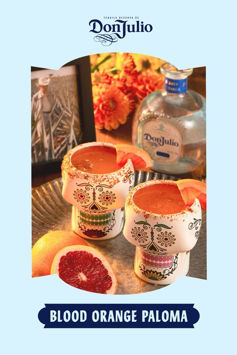 Día de los Muertos is a time to raise a glass to those who are with us in spirit. Make it special with a Blood Orange Paloma.  Add 1.5 oz Don Julio Blanco to a glass rimmed with chili powder. Add 1 oz fresh grapefruit juice and .5 oz fresh lime juice. Top with blood orange soda. Garnish with grapefruit slice.