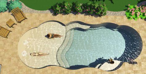 beach entry fiberglass pool – Carol W. Small Backyard Pools, Backyard Pool Landscaping, Backyard Pool Designs, Small Pools, Swimming Pools Backyard, Swimming Pool Designs, Outdoor Pool, Indoor Outdoor, Backyard Beach