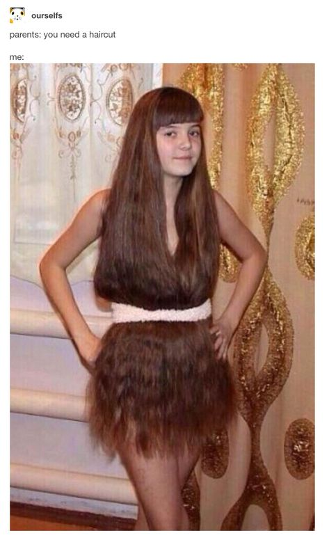 Really Long Hair Dress - Who Needs Clothes? - Hirsutism High Fashion Model: This young girl with really long hair just might start a new fashion trend!