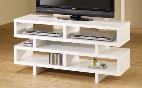White Media Tv Console With Open Storage Azwaak Tv Stand Home Entertainment Furniture Cool Tv Stands