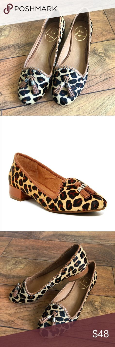 "Jack Rogers Gabrielle leopard tassel loafer Adorable Jack Rogers Gabrielle leopard loafers. Genuine calf hair and leather upper. Round toe with double tassel. Whip stitch detail. Approximate 1"" block heel. Very lightly worn. Some minor wear to back of shoe but mostly just where it was sewn together. Size 7. Jack Rogers Shoes Flats & Loafers"