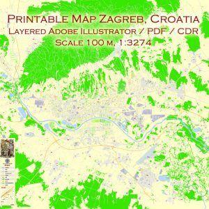 Map Zagreb Croatia Pdf Editaple Printable Vector City Plan 100 M Scale Map Zagreb Map Vector