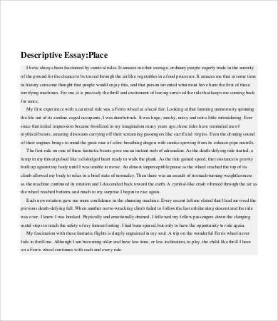 Descriptive Essay 6 Free Sample Example Format Download Template Net Sampleresum Of Writing Skills On Place