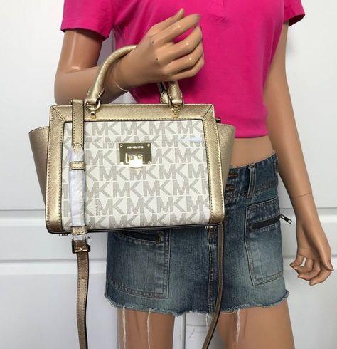 9fa21bd37638 NWT Michael Kors Tina Small Top Zip Satchel Handbag Crossbody Vanilla Gold  NEW  MichaelKors  Satchel