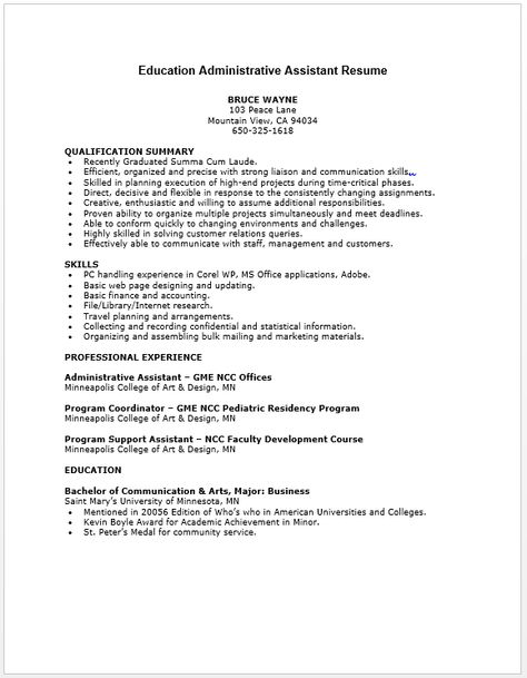 Education Administrative Assistant Resume Resume \/ Job - medical support assistant resume