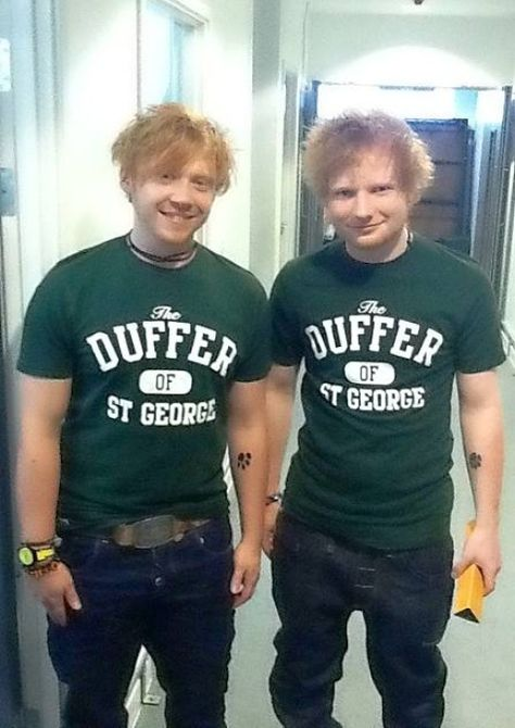 Rupert Grint and Ed Sheeran<3. Two of my favorite people in one picture. Oddly enough just finished listening to Lego House before seeing this post =D