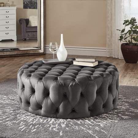 Baxton Studio Velvet Upholstered Misty Ottoman In Grey Gold Upholstered Ottoman Round Footstool Tufted Ottoman