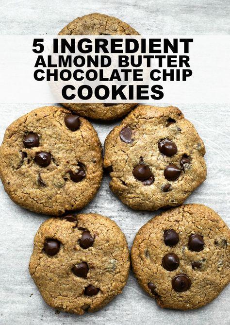 Almond Butter Chocolate Chip Cookies Vegan Gluten Free