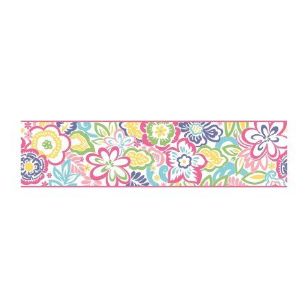 Growing Up Kids Islamorada Removable Wallpaper Border Purple Botanical Wallpaper Wallpaper Pink Turquoise