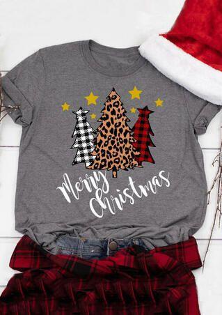 Christmas Tree Leopard Printed Baseball T-Shirt Tee - Bellelily