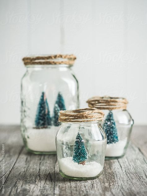 Winter themed jars containing white snow and snowy trees