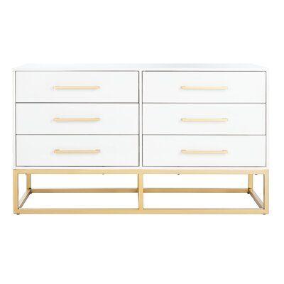 Mercer41 Maxson 6 Drawer Double Dresser Wayfair White And Gold