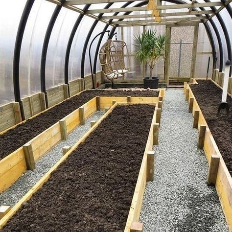 Oh My What A Perfect Greenhouse Very Interesting Layout For Raised Beds And They Even Include A Romantic Spot In Th Build A Greenhouse Backyard Diy Greenhouse