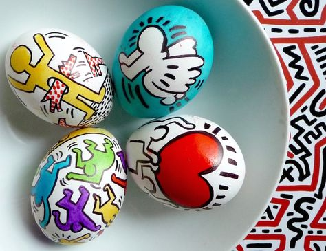 Keith Haring Inspired Eggs