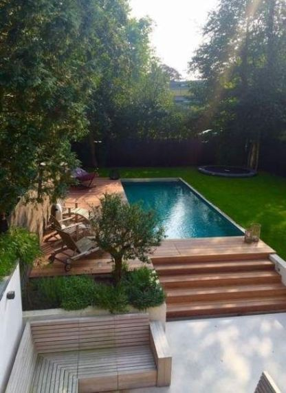 above ground swimming pool and deck