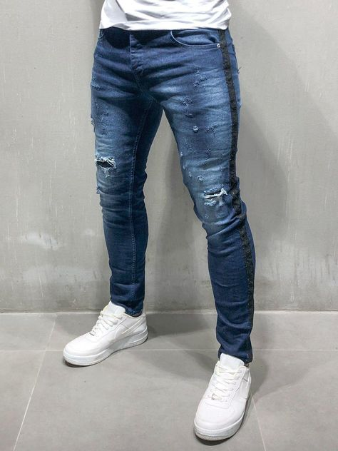18a8034ba Ripped&Repaired Jeans w/ Side Stripes - Blue