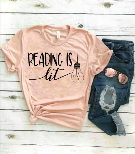 Reading Shirt For Teachers - Book Shirt For Women - Reading Is Lit Shirt - Librarian Shirt For Women & Read America Shirt For Teachers by LittleRusticMarket on Etsy