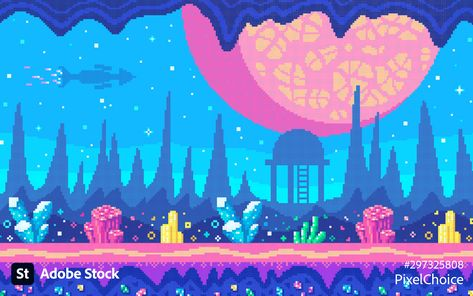 Pixelated landscape in retro video game style