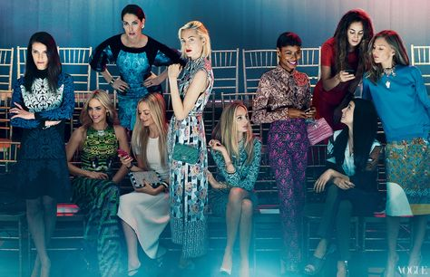 Left to right, Vanessa Traina, Jenna Courtin-Clarins, Prisca Courtin-Clarins, Virginie Courtin-Clarins, Claire Courtin-Clarins, Lauren Santo Domingo, Shala Monroque, Alexia Niedzielski, Lily Kwong, and Elizabeth von Guttman.  Photographed by Norman Jean Roy