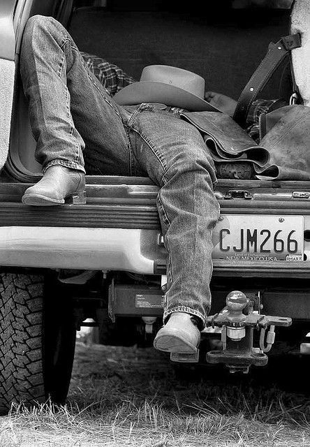 Just a country boy black and white hat guys country boots truck