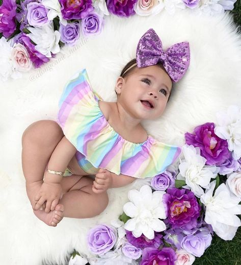 Excited to share this item from my shop: Pastel Rainbow Leo 6 Month Baby Picture Ideas, Baby Girl Pictures, Easter Pictures For Babies, Cute Baby Girl Outfits, Cute Baby Clothes, Foto Baby, Newborn Baby Photography, Baby Girl Newborn, Baby Girls