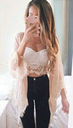White lace crop, high waisted dark jeans, lace blush kimono, long blonde hair, rose gold watch